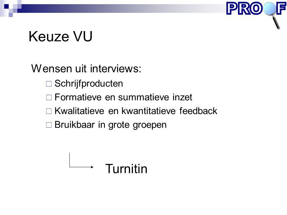 Turnitin Keuze VU Wensen uit interviews:  Schrijfproducten  Formatieve en summatieve inzet  Kwalitatieve en kwantitatieve feedback  Bruikbaar in g