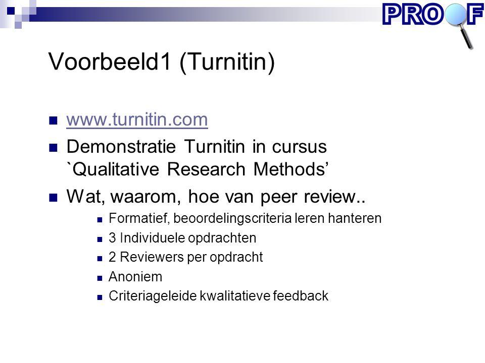 Voorbeeld1 (Turnitin) www.turnitin.com Demonstratie Turnitin in cursus `Qualitative Research Methods' Wat, waarom, hoe van peer review.. Formatief, be