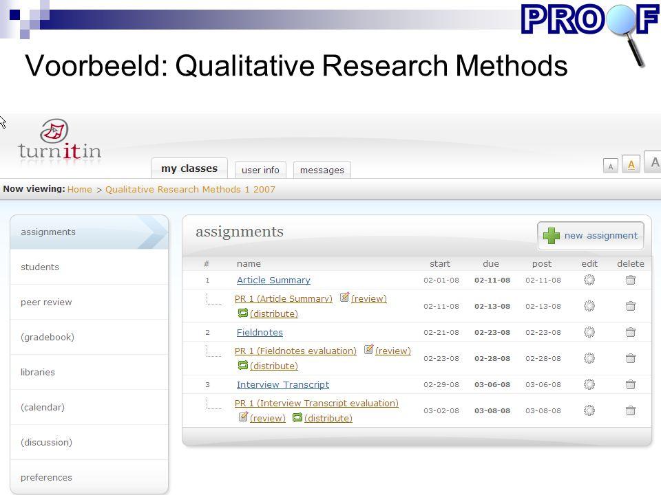 Voorbeeld: Qualitative Research Methods