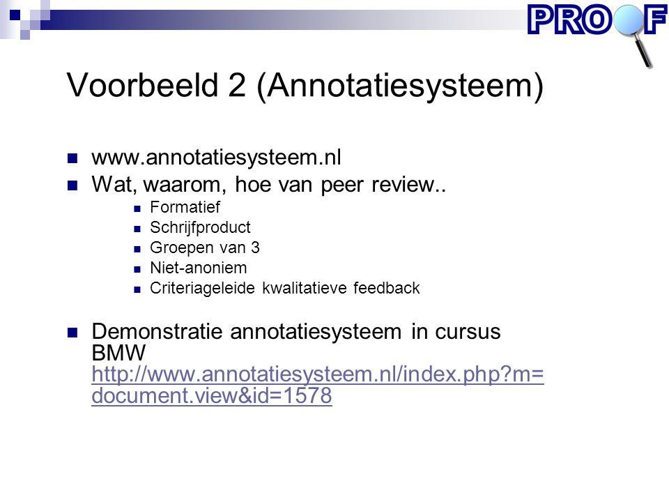 Voorbeeld 2 (Annotatiesysteem) www.annotatiesysteem.nl Wat, waarom, hoe van peer review.. Formatief Schrijfproduct Groepen van 3 Niet-anoniem Criteria