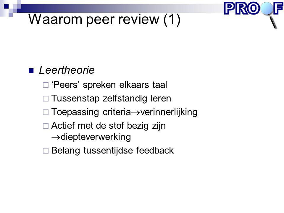 Waarom peer review (1) Leertheorie  'Peers' spreken elkaars taal  Tussenstap zelfstandig leren  Toepassing criteria  verinnerlijking  Actief met