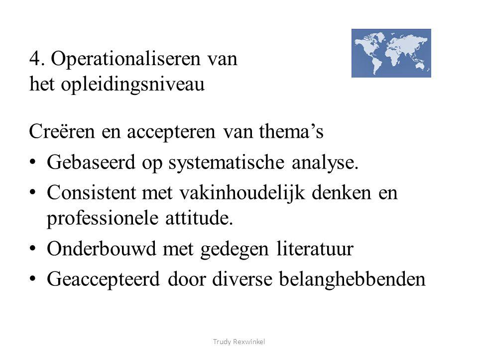 4. Operationaliseren van het opleidingsniveau Creëren en accepteren van thema's Gebaseerd op systematische analyse. Consistent met vakinhoudelijk denk