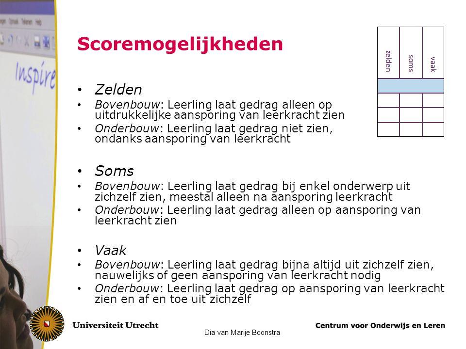 Scoremogelijkheden Zelden Bovenbouw: Leerling laat gedrag alleen op uitdrukkelijke aansporing van leerkracht zien Onderbouw: Leerling laat gedrag niet