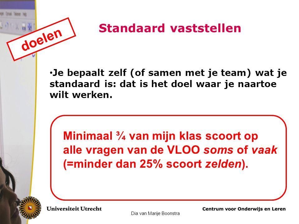 Standaard vaststellen Je bepaalt zelf (of samen met je team) wat je standaard is: dat is het doel waar je naartoe wilt werken. doelen Minimaal ¾ van m