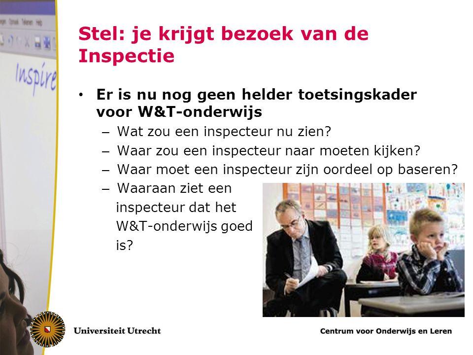 Stel: je krijgt bezoek van de Inspectie Er is nu nog geen helder toetsingskader voor W&T-onderwijs – Wat zou een inspecteur nu zien? – Waar zou een in