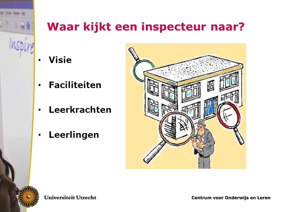 Waar kijkt een inspecteur naar? Visie Faciliteiten Leerkrachten Leerlingen