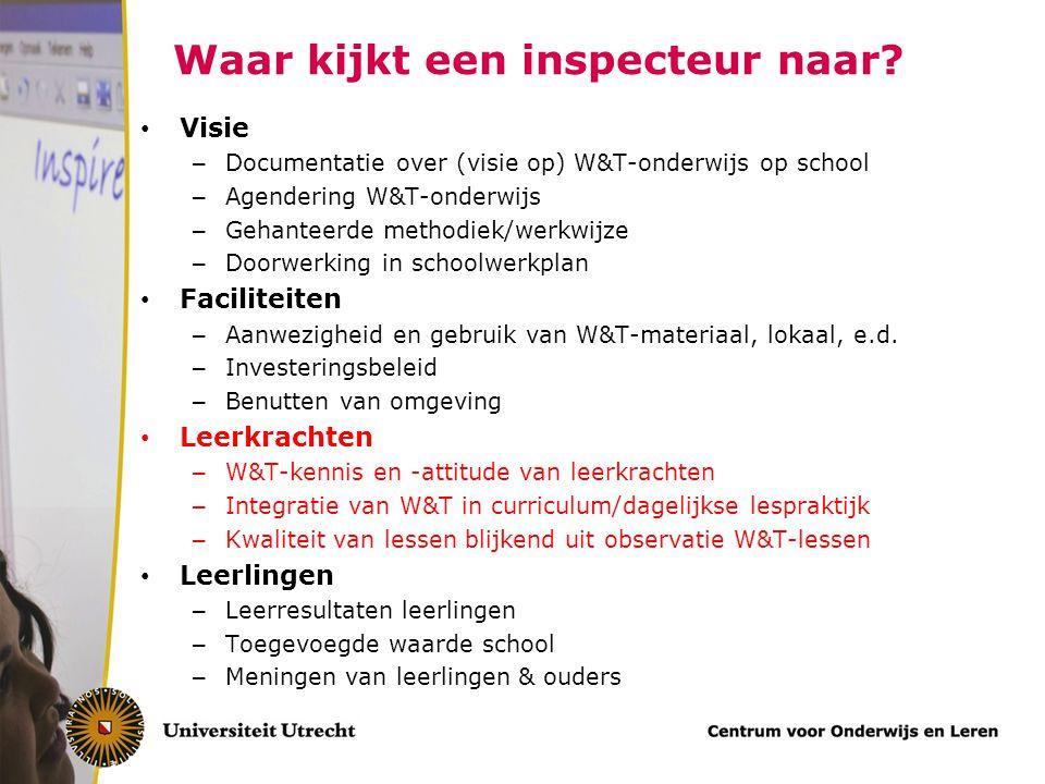 Waar kijkt een inspecteur naar? Visie – Documentatie over (visie op) W&T-onderwijs op school – Agendering W&T-onderwijs – Gehanteerde methodiek/werkwi