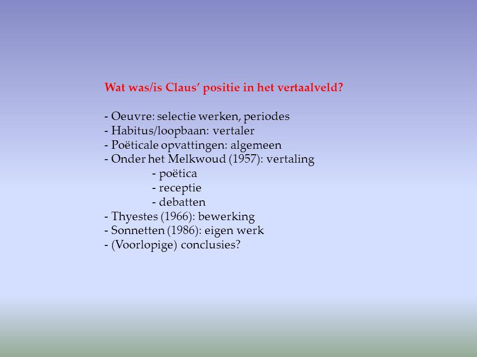 Oeuvre Wat is uit het vertaaloeuvre van Claus af te leiden m.b.t zijn positie in het veld.