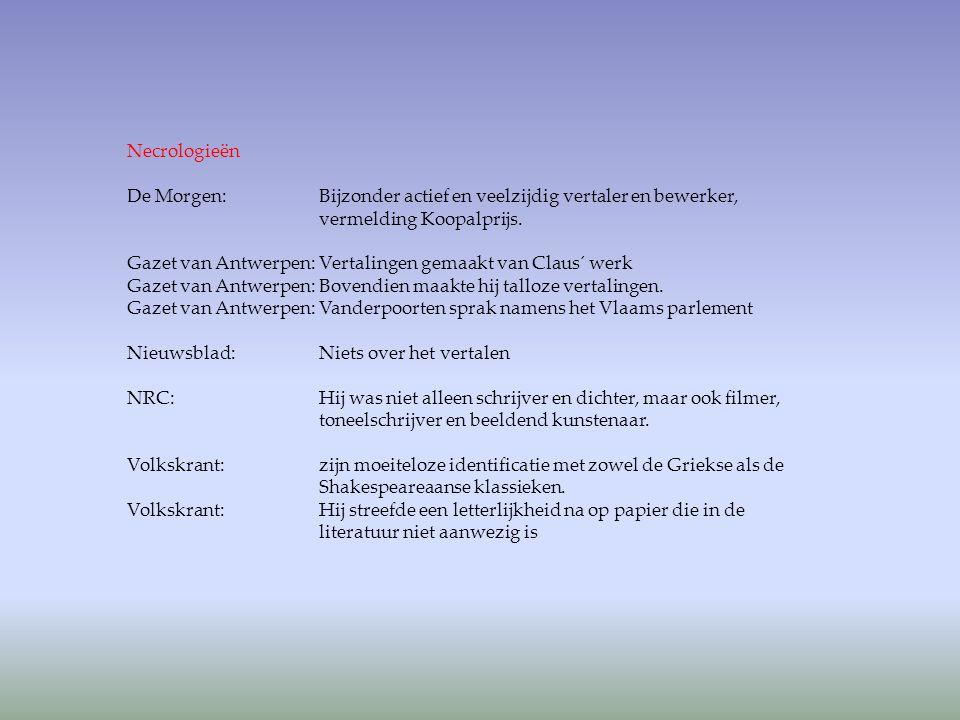 Necrologieën De Morgen: Bijzonder actief en veelzijdig vertaler en bewerker, vermelding Koopalprijs. Gazet van Antwerpen: Vertalingen gemaakt van Clau