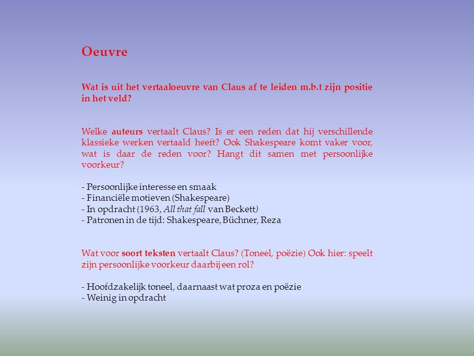 Oeuvre Wat is uit het vertaaloeuvre van Claus af te leiden m.b.t zijn positie in het veld? Welke auteurs vertaalt Claus? Is er een reden dat hij versc