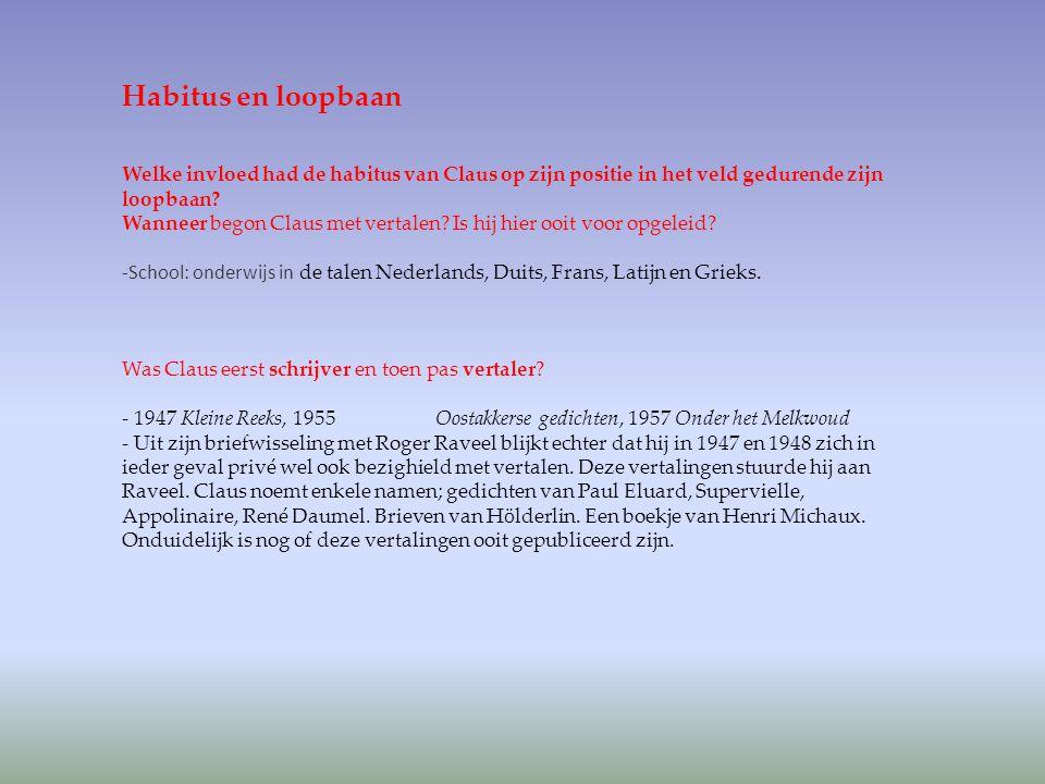 Habitus en loopbaan Welke invloed had de habitus van Claus op zijn positie in het veld gedurende zijn loopbaan? Wanneer begon Claus met vertalen? Is h