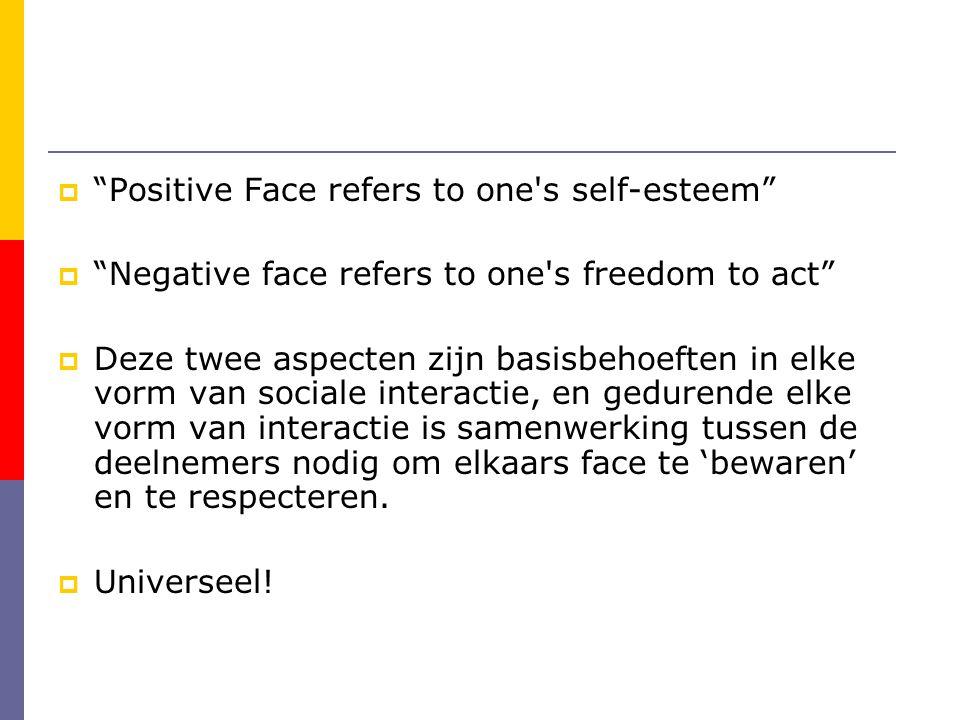  Positive Face refers to one s self-esteem  Negative face refers to one s freedom to act  Deze twee aspecten zijn basisbehoeften in elke vorm van sociale interactie, en gedurende elke vorm van interactie is samenwerking tussen de deelnemers nodig om elkaars face te 'bewaren' en te respecteren.
