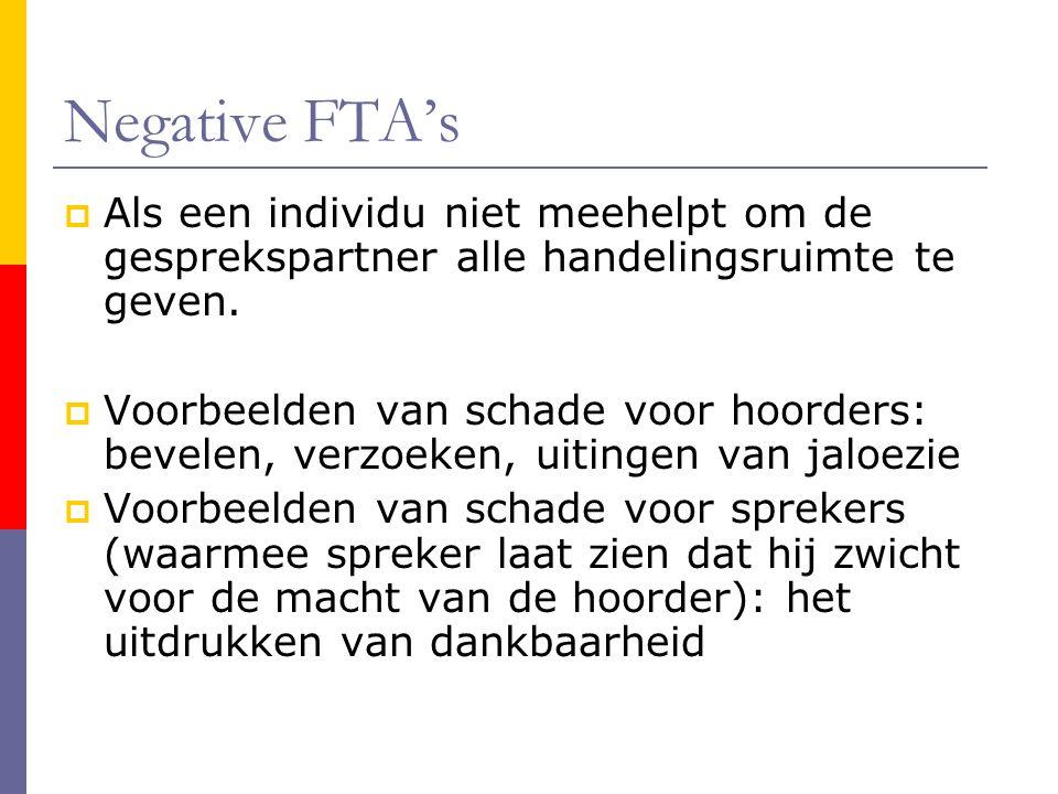 Negative FTA's  Als een individu niet meehelpt om de gesprekspartner alle handelingsruimte te geven.