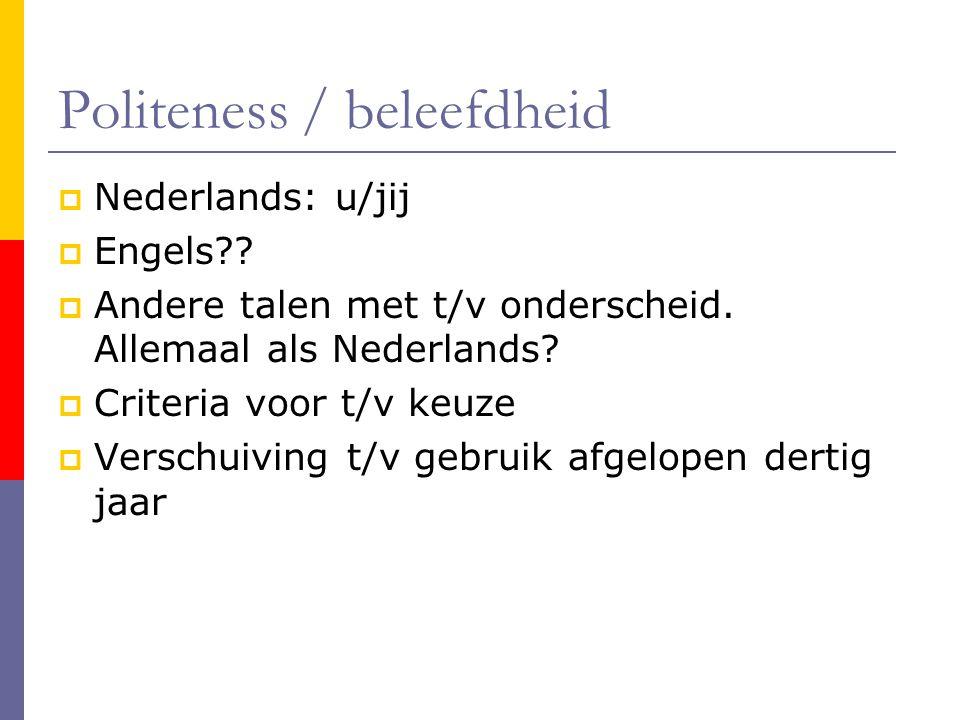 Politeness / beleefdheid  Nederlands: u/jij  Engels?.