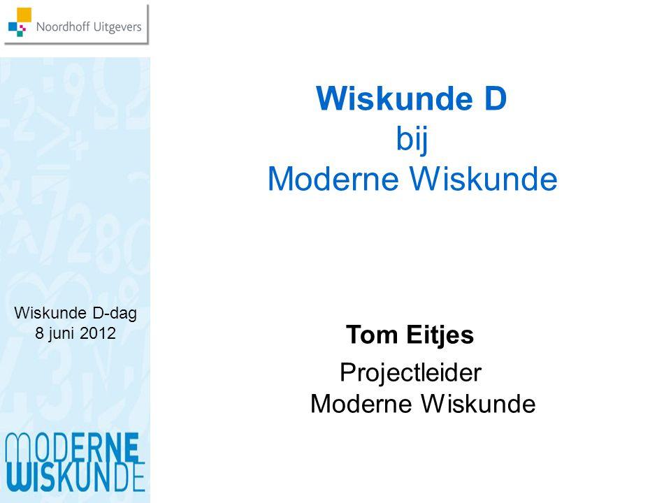 Wiskunde D-dag 8 juni 2012 Wiskunde D bij Moderne Wiskunde Tom Eitjes Projectleider Moderne Wiskunde