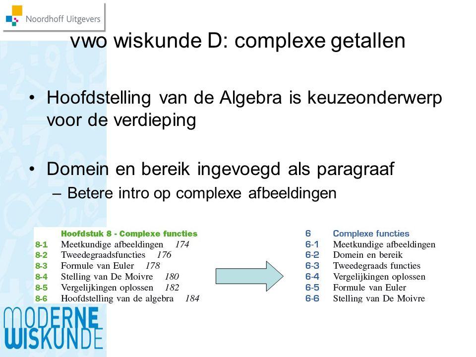 vwo wiskunde D: complexe getallen Hoofdstelling van de Algebra is keuzeonderwerp voor de verdieping Domein en bereik ingevoegd als paragraaf –Betere i