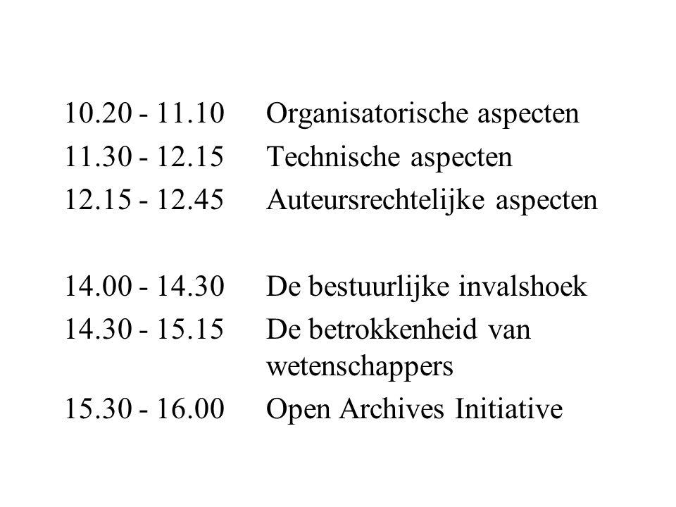 10.20 - 11.10 Organisatorische aspecten 11.30 - 12.15 Technische aspecten 12.15 - 12.45 Auteursrechtelijke aspecten 14.00 - 14.30 De bestuurlijke invalshoek 14.30 - 15.15 De betrokkenheid van wetenschappers 15.30 - 16.00 Open Archives Initiative
