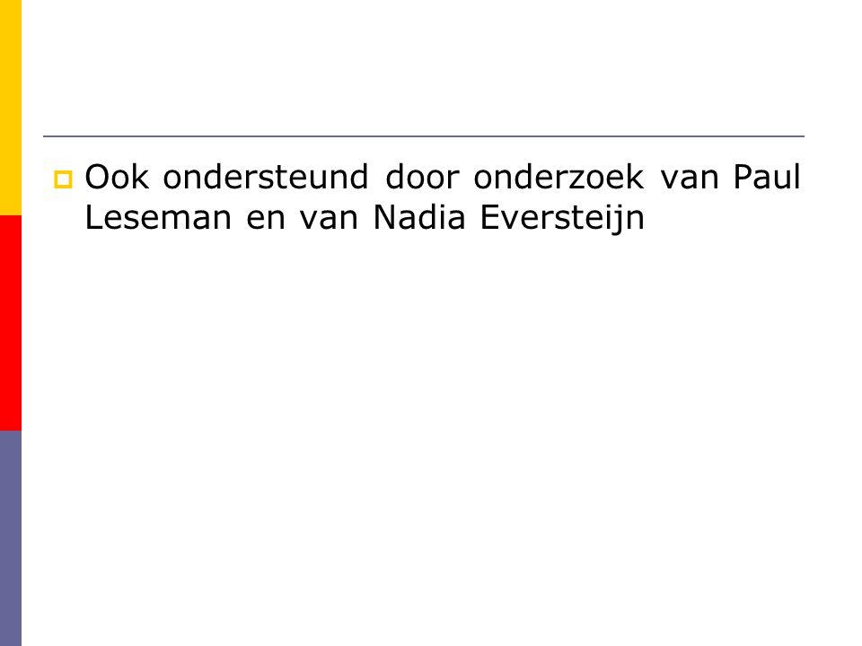  Ook ondersteund door onderzoek van Paul Leseman en van Nadia Eversteijn