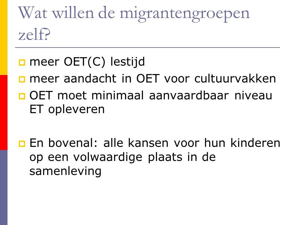 Wat willen de migrantengroepen zelf.