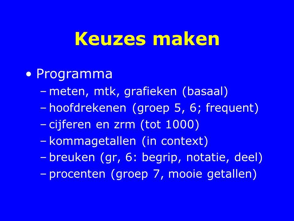 Keuzes maken Programma –meten, mtk, grafieken (basaal) –hoofdrekenen (groep 5, 6; frequent) –cijferen en zrm (tot 1000) –kommagetallen (in context) –b