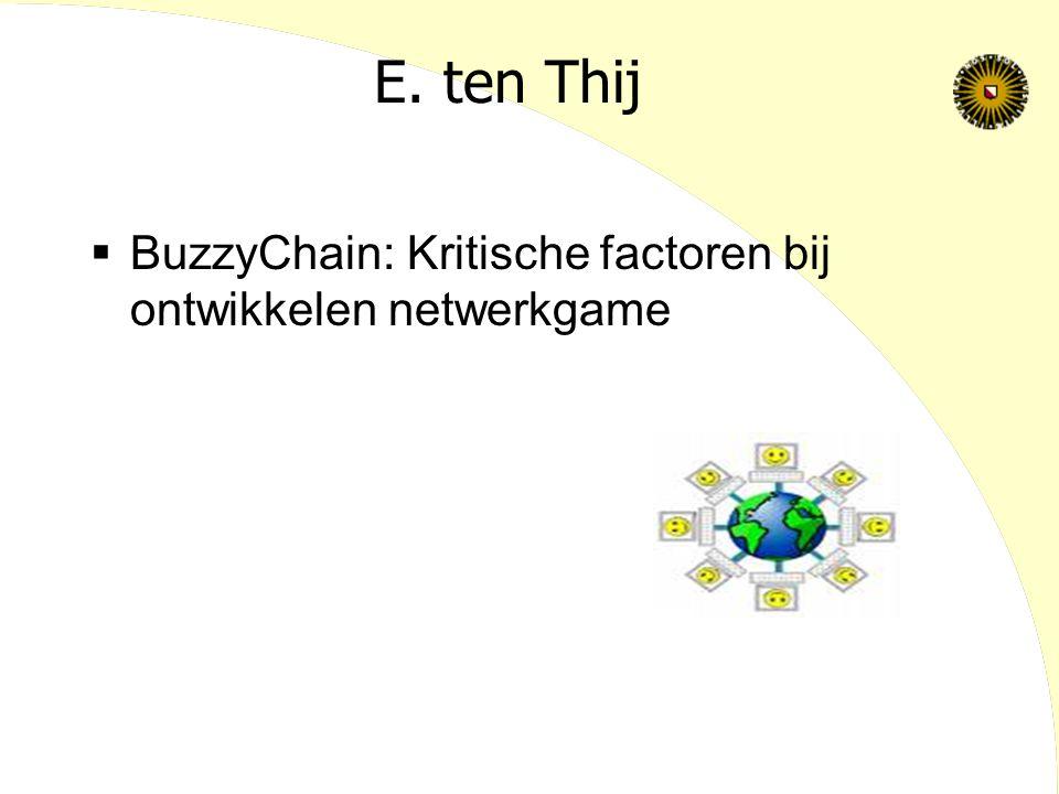 E. ten Thij  BuzzyChain: Kritische factoren bij ontwikkelen netwerkgame