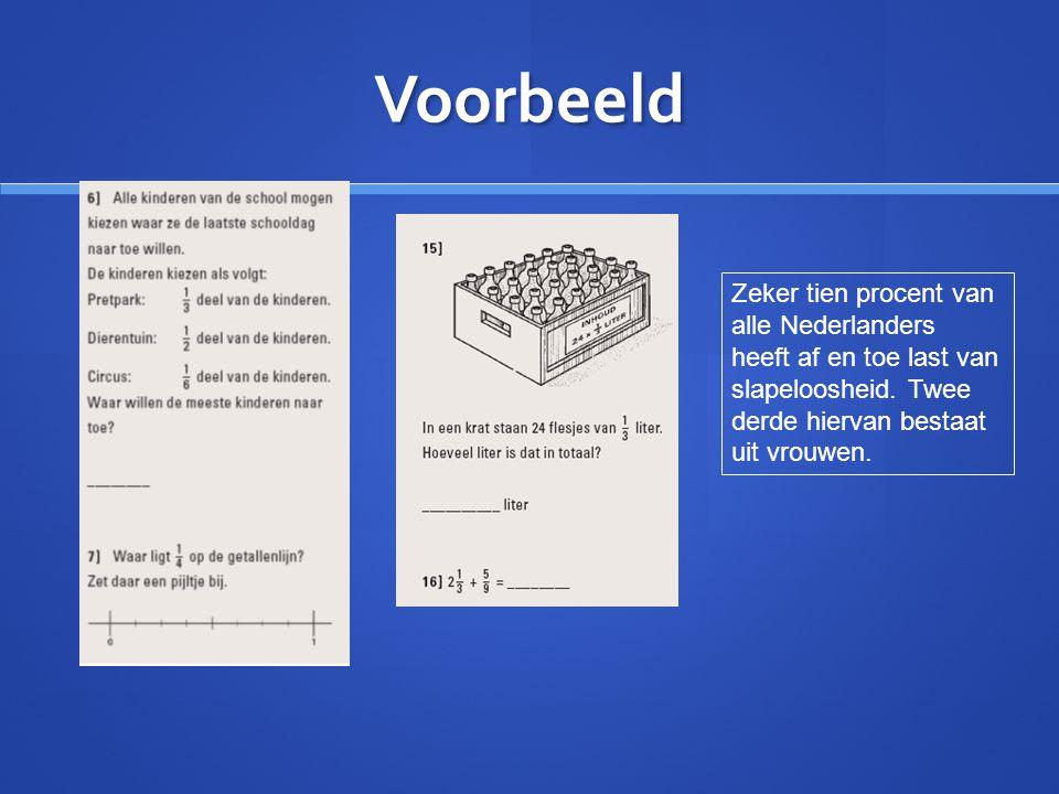Voorbeeld Zeker tien procent van alle Nederlanders heeft af en toe last van slapeloosheid. Twee derde hiervan bestaat uit vrouwen.