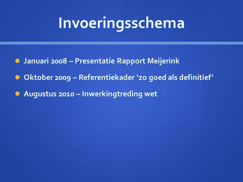 Invoeringsschema Januari 2008 – Presentatie Rapport Meijerink Januari 2008 – Presentatie Rapport Meijerink Oktober 2009 – Referentiekader 'zo goed als