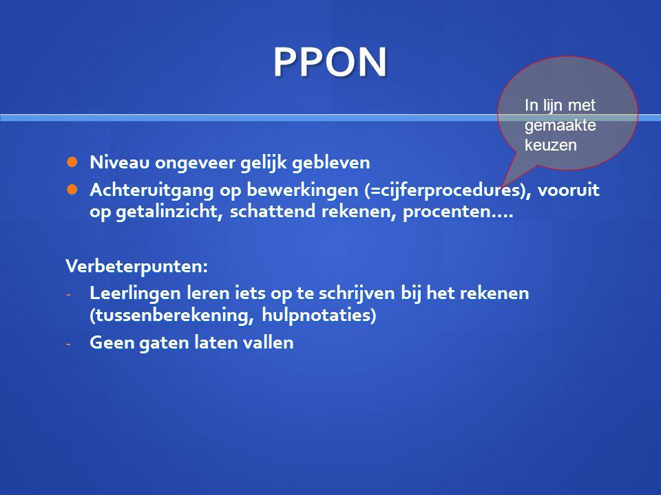 PPON Niveau ongeveer gelijk gebleven Niveau ongeveer gelijk gebleven Achteruitgang op bewerkingen (=cijferprocedures), vooruit op getalinzicht, schatt