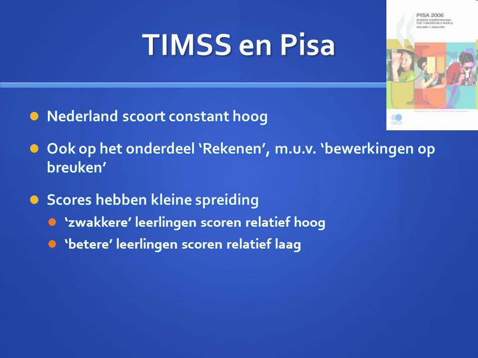 TIMSS en Pisa Nederland scoort constant hoog Nederland scoort constant hoog Ook op het onderdeel 'Rekenen', m.u.v. 'bewerkingen op breuken' Ook op het