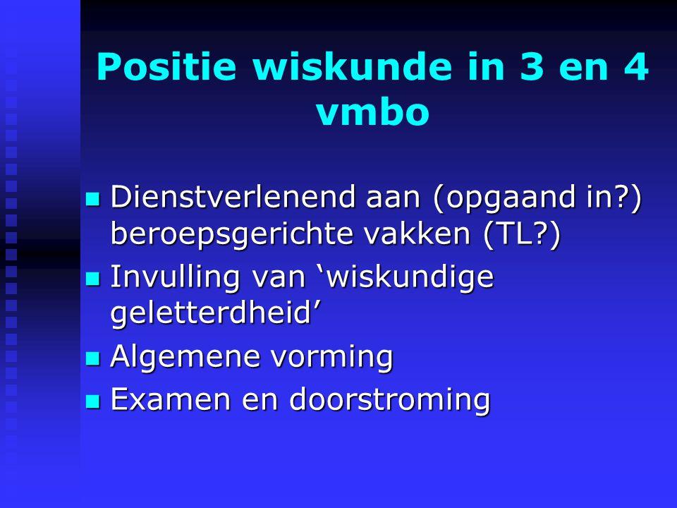 Nog wat losse dingen - Examen CSE en SE Examen - Wiskunde uit de praktijk inzetten (volgende keer) inzetten - Wiskunde in de praktijk toetsen toetsen (volgende keer)