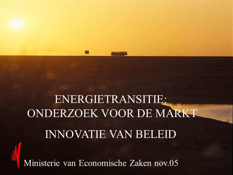 ENERGIETRANSITIE: ONDERZOEK VOOR DE MARKT INNOVATIE VAN BELEID Ministerie van Economische Zaken nov.05