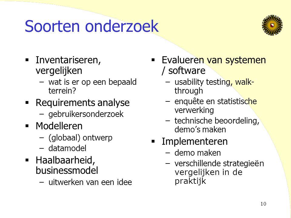 10 Soorten onderzoek  Inventariseren, vergelijken –wat is er op een bepaald terrein?  Requirements analyse –gebruikersonderzoek  Modelleren –(globa