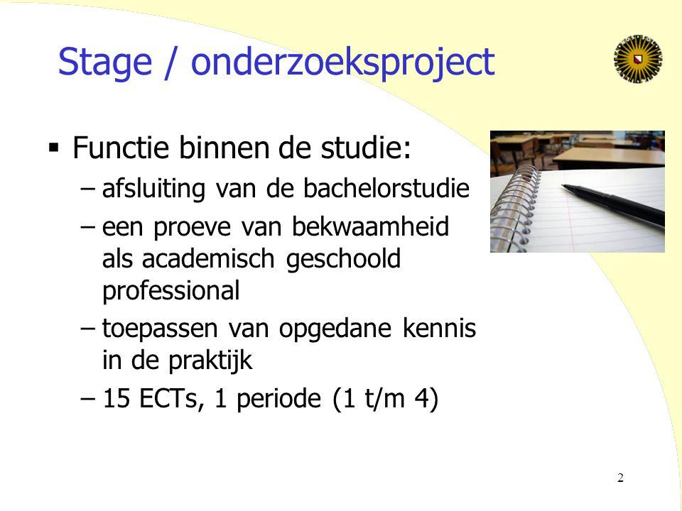 2 Stage / onderzoeksproject  Functie binnen de studie: –afsluiting van de bachelorstudie –een proeve van bekwaamheid als academisch geschoold profess