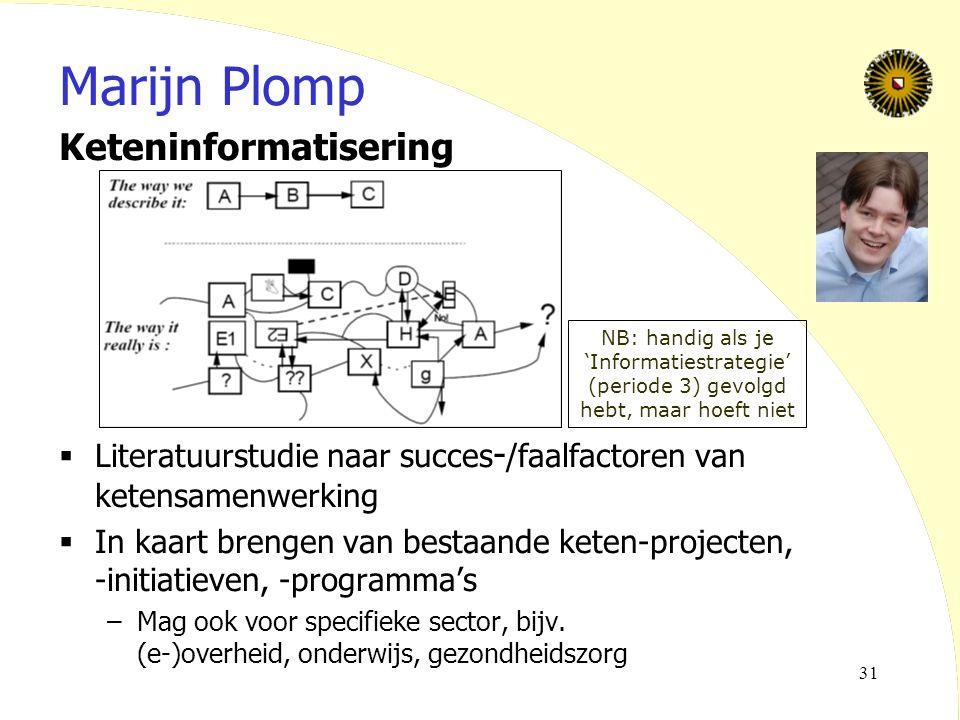 31 Marijn Plomp Keteninformatisering  Literatuurstudie naar succes - /faalfactoren van ketensamenwerking  In kaart brengen van bestaande keten-proje