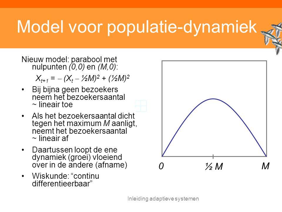 Inleiding adaptieve systemen Model voor populatie-dynamiek Nieuw model: parabool met nulpunten (0,0) en (M,0): X t+1 =  (X t  ½M) 2 + (½M) 2 Bij bijna geen bezoekers neem het bezoekersaantal ~ lineair toe Als het bezoekersaantal dicht tegen het maximum M aanligt, neemt het bezoekersaantal ~ lineair af Daartussen loopt de ene dynamiek (groei) vloeiend over in de andere (afname) Wiskunde: continu differentieerbaar M0 ½ M½ M
