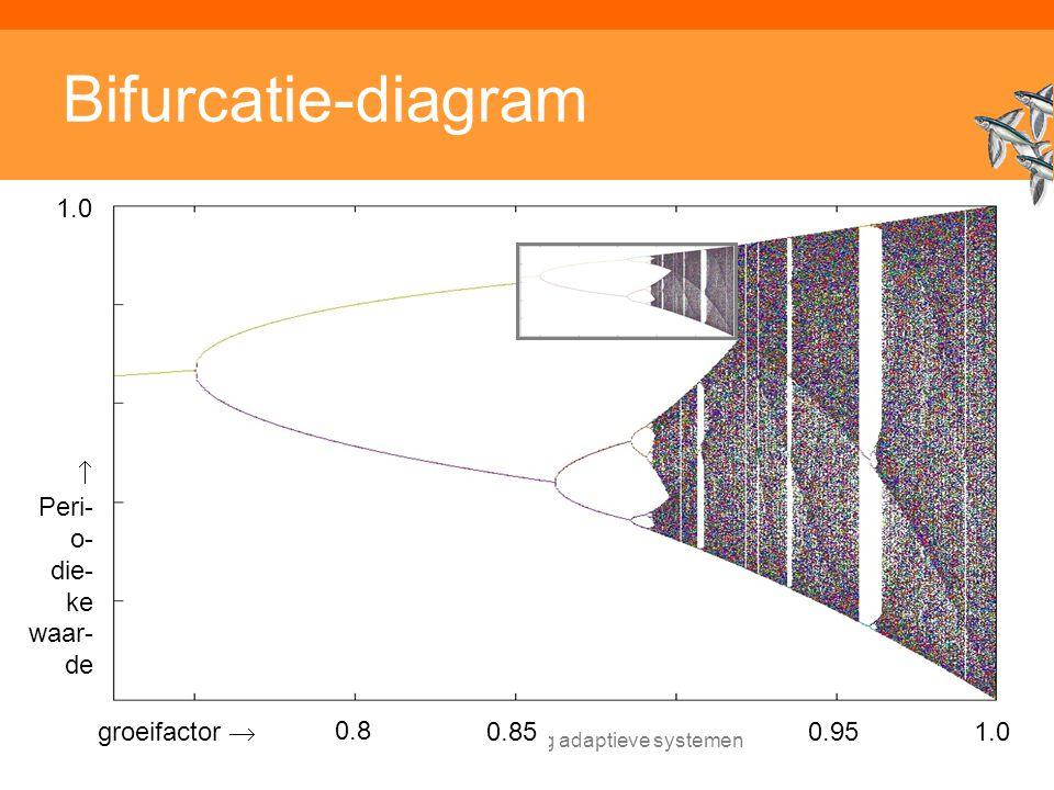 Inleiding adaptieve systemen Bifurcatie-diagram groeifactor  1.0 0.8 0.850.95  Peri- o- die- ke waar- de 1.0