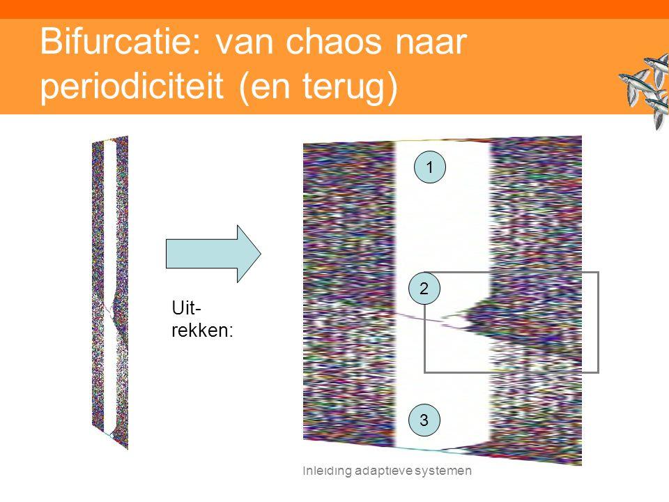 Inleiding adaptieve systemen Bifurcatie: van chaos naar periodiciteit (en terug) Uit- rekken: 1 3 2