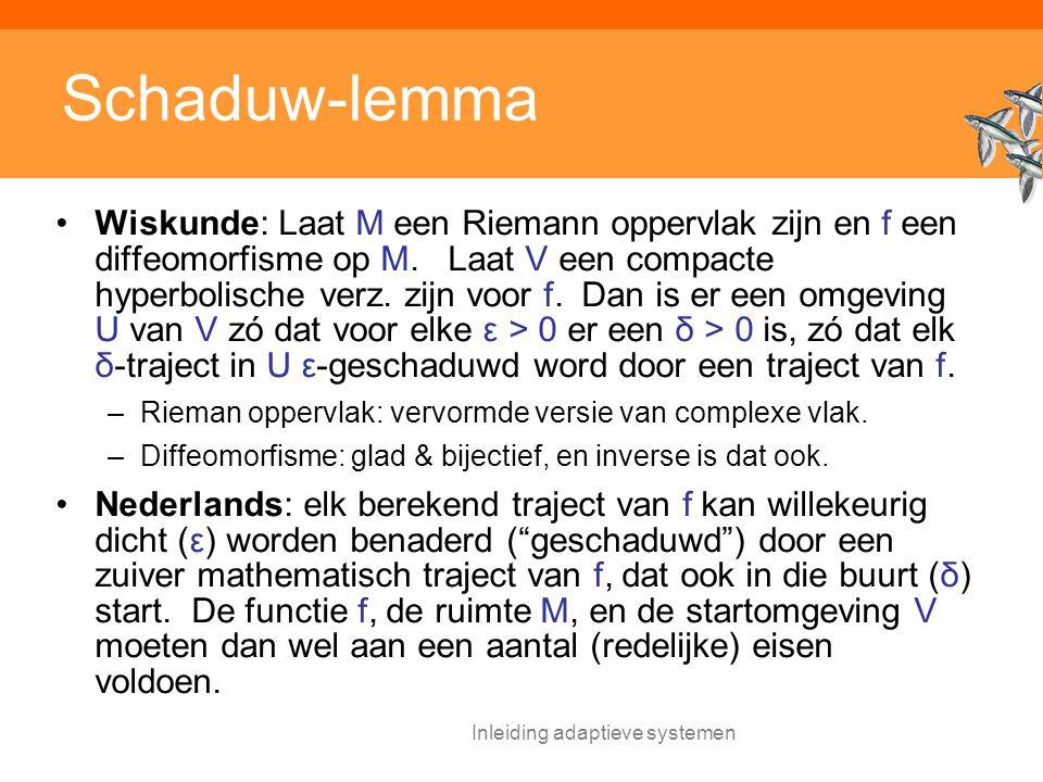 Inleiding adaptieve systemen Schaduw-lemma Wiskunde: Laat M een Riemann oppervlak zijn en f een diffeomorfisme op M.