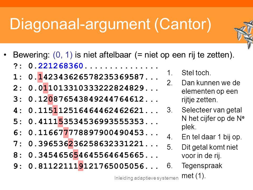 Inleiding adaptieve systemen Diagonaal-argument (Cantor) Bewering: (0, 1) is niet aftelbaar (= niet op een rij te zetten).