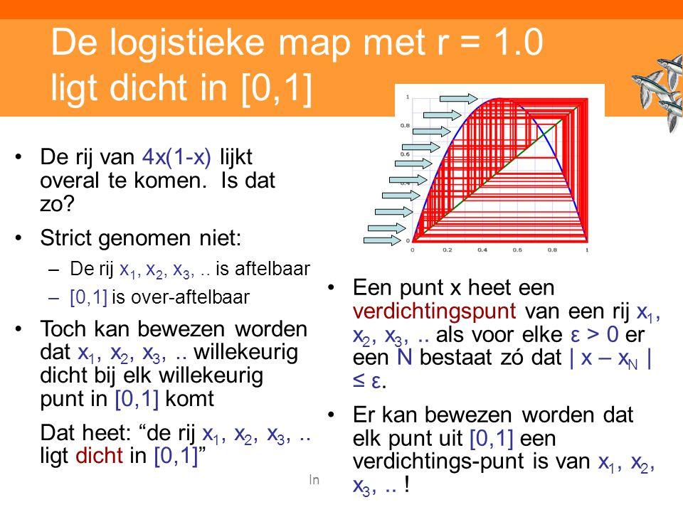 Inleiding adaptieve systemen De logistieke map met r = 1.0 ligt dicht in [0,1] Een punt x heet een verdichtingspunt van een rij x 1, x 2, x 3,..