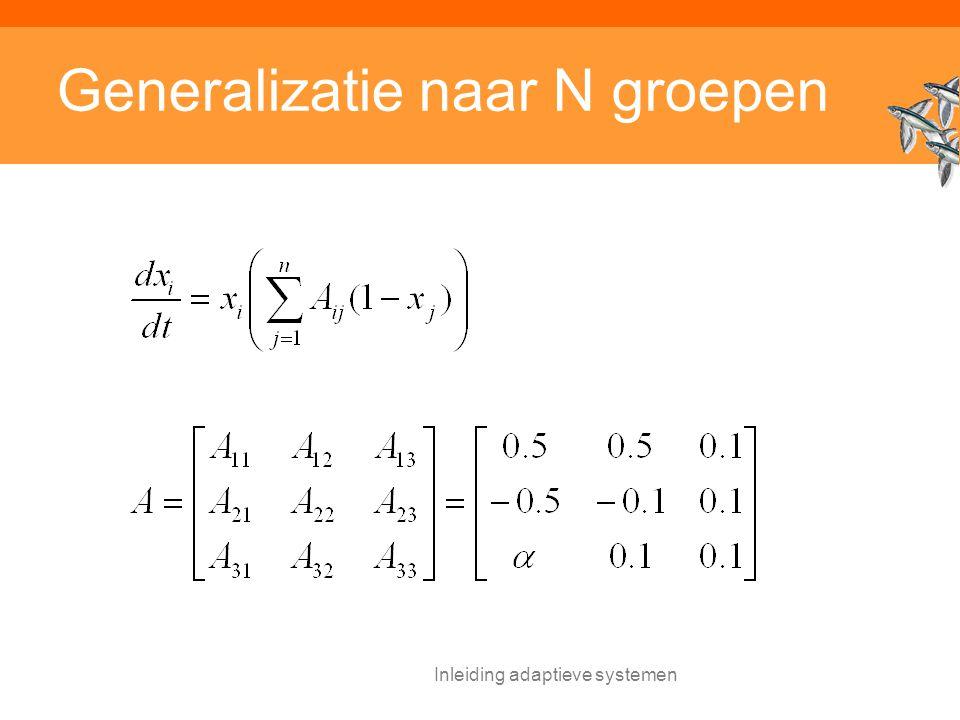 Inleiding adaptieve systemen Generalizatie naar N groepen