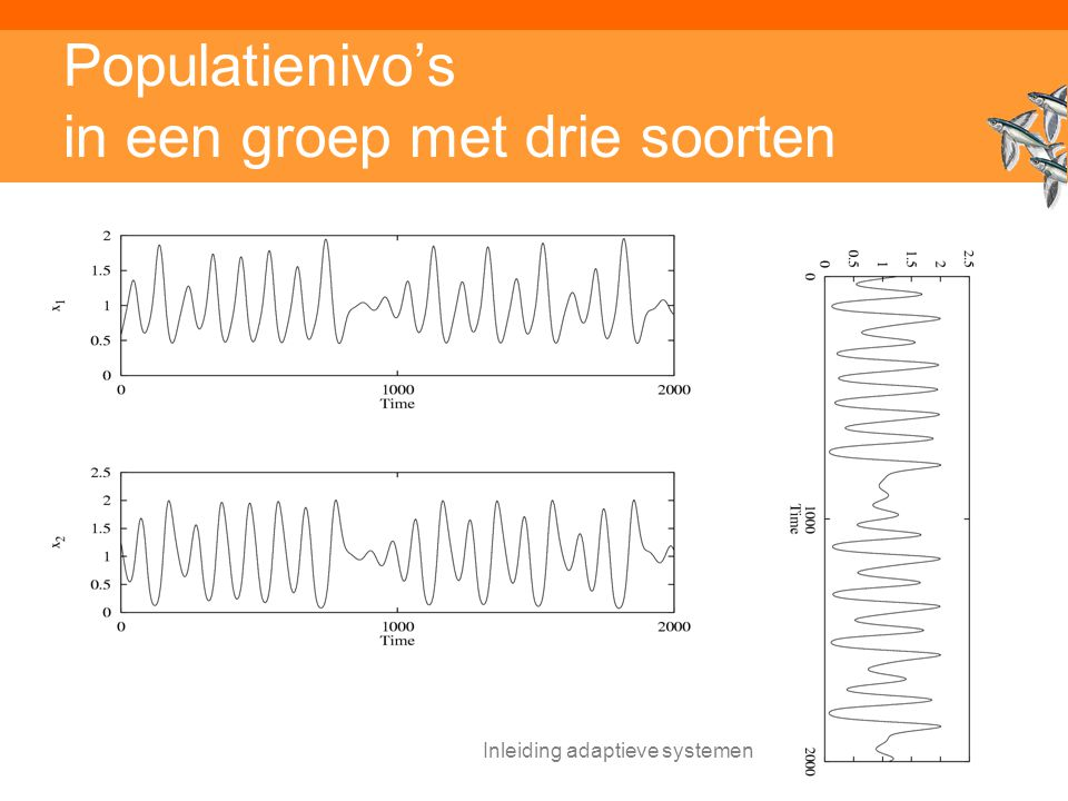 Inleiding adaptieve systemen Populatienivo's in een groep met drie soorten