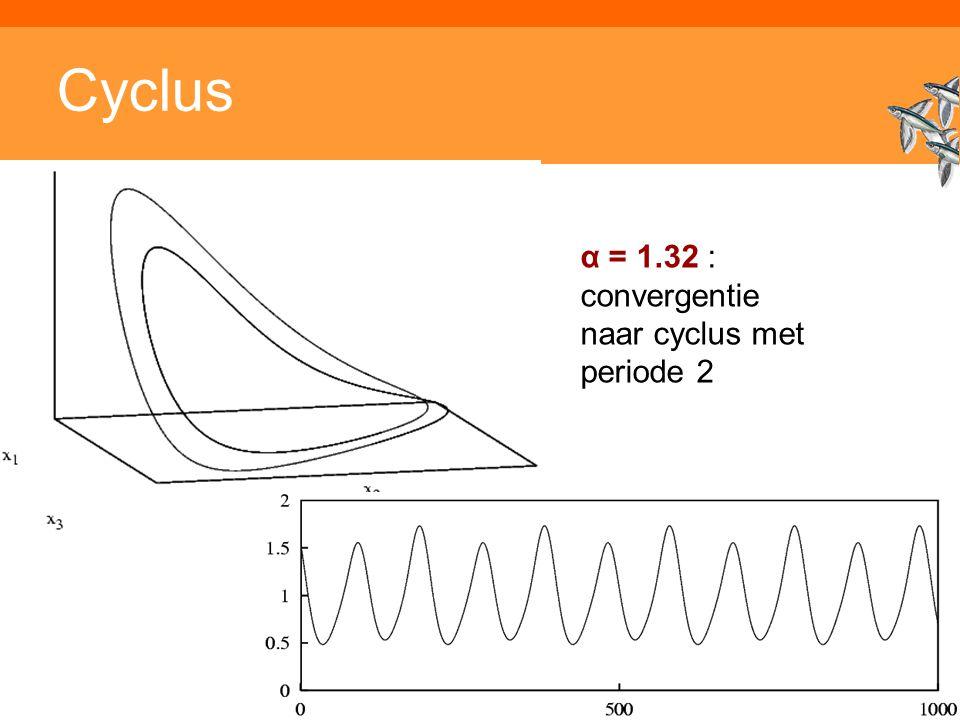 Inleiding adaptieve systemen Cyclus α = 1.32 : convergentie naar cyclus met periode 2