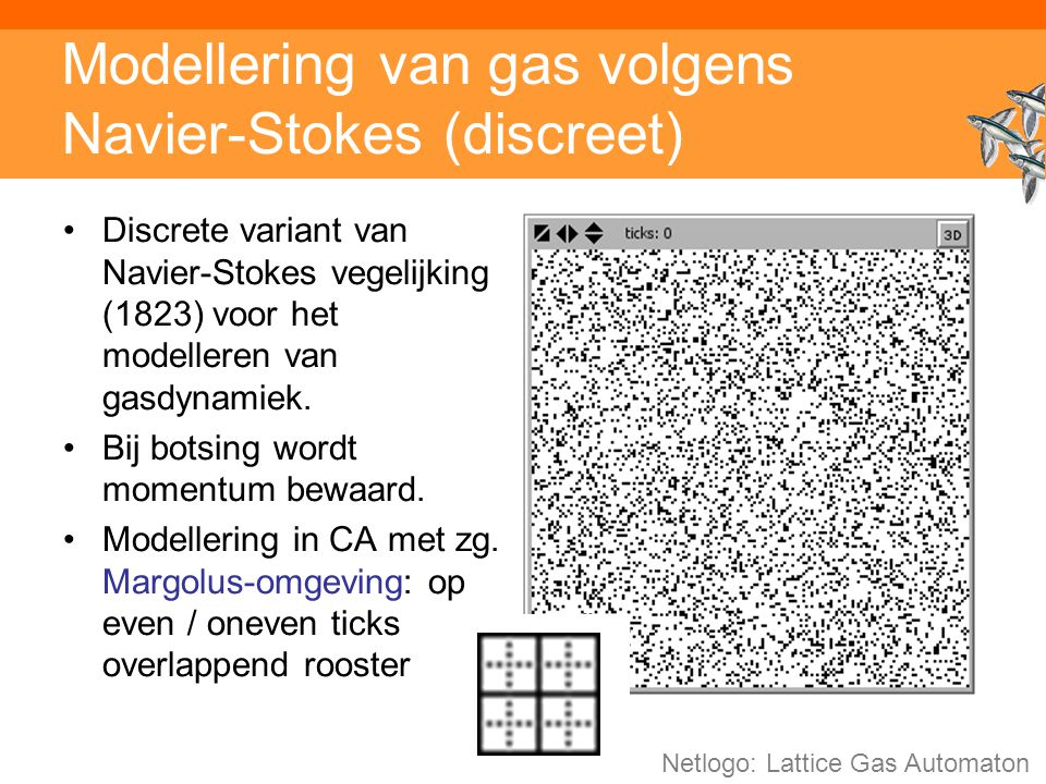 Inleiding adaptieve systemen Modellering van gas volgens Navier-Stokes (discreet) Discrete variant van Navier-Stokes vegelijking (1823) voor het modelleren van gasdynamiek.
