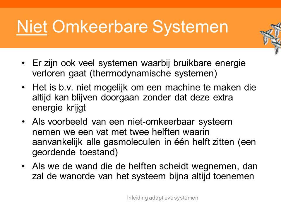 Inleiding adaptieve systemen Niet Omkeerbare Systemen Er zijn ook veel systemen waarbij bruikbare energie verloren gaat (thermodynamische systemen) Het is b.v.