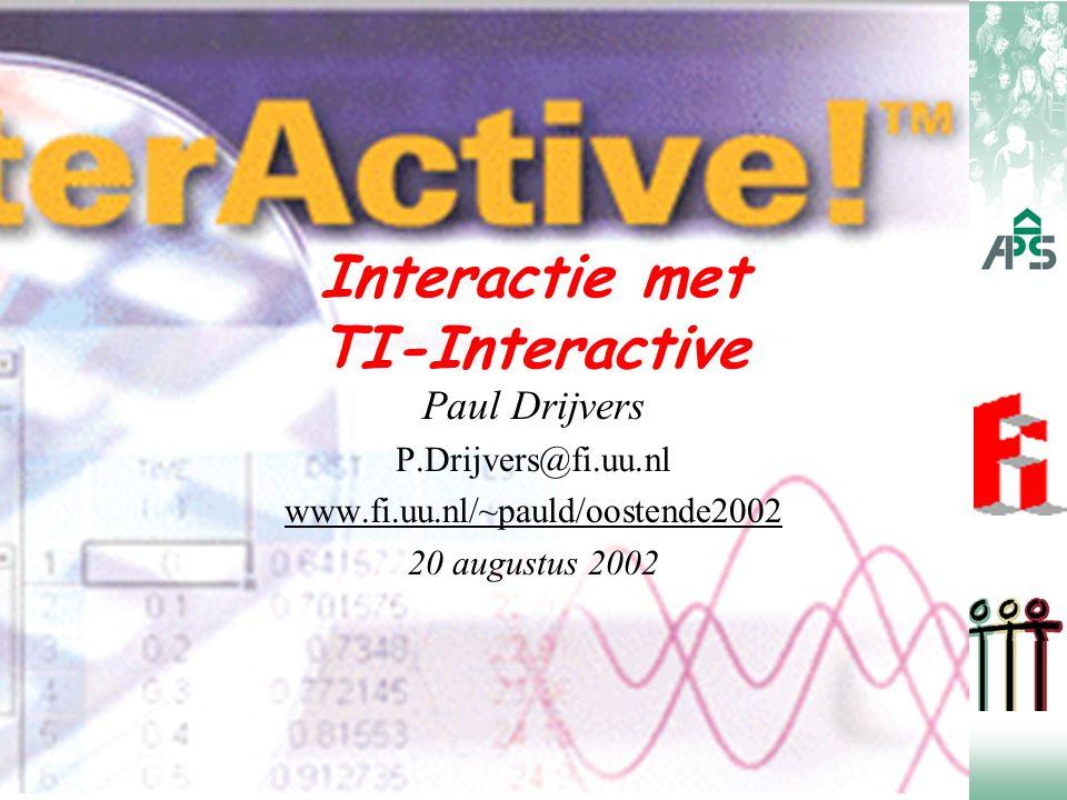 Inleiding  Interactie: belangrijke factor in het leren  TI-Interactive: grafieken, tabellen, formules computeralgebra tekstverwerking / layout / formules / afbeeldingen toegang tot Internet / email / site aansluiting sensoren en GR