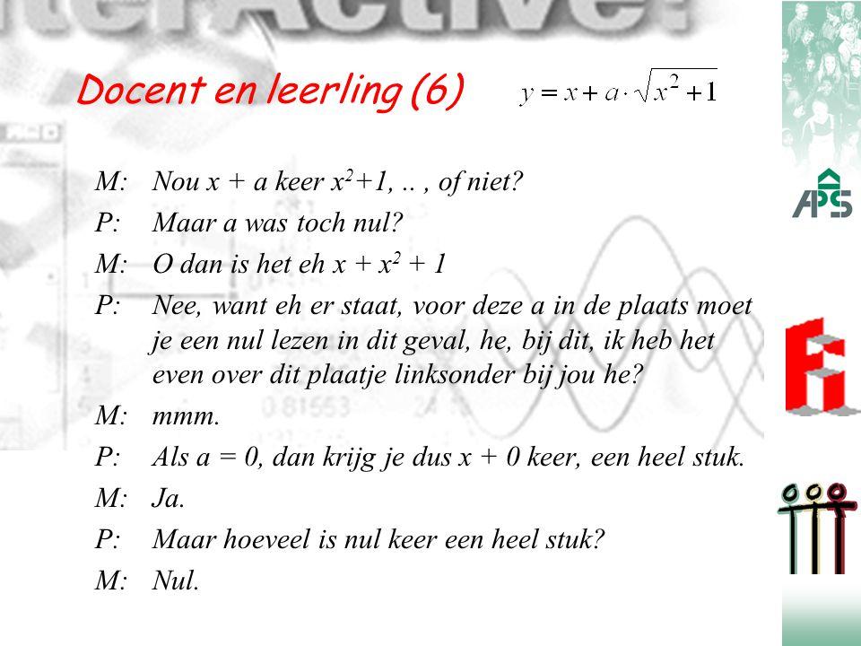 Docent en leerling (6) M:Nou x + a keer x 2 +1,.., of niet? P:Maar a was toch nul? M:O dan is het eh x + x 2 + 1 P:Nee, want eh er staat, voor deze a