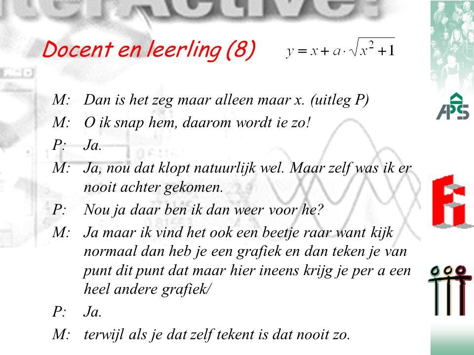 Docent en leerling (8) M:Dan is het zeg maar alleen maar x. (uitleg P) M:O ik snap hem, daarom wordt ie zo! P:Ja. M:Ja, nou dat klopt natuurlijk wel.