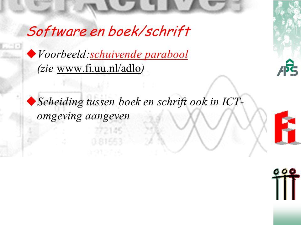  Voorbeeld:schuivende parabool (zie www.fi.uu.nl/adlo)schuivende parabool  Scheiding tussen boek en schrift ook in ICT- omgeving aangeven Software e