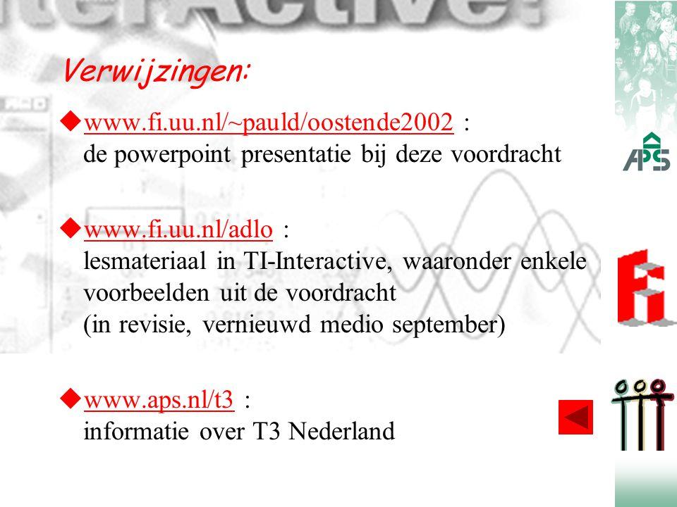 Verwijzingen:  www.fi.uu.nl/~pauld/oostende2002 : de powerpoint presentatie bij deze voordracht www.fi.uu.nl/~pauld/oostende2002  www.fi.uu.nl/adlo